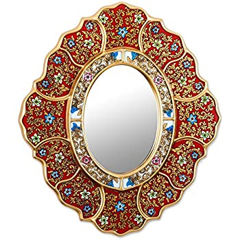 NOVICA Red Reverse Painted Glass Wood Wall Mounted Mirror with Blue and White Flowers 'Floral Crimson'