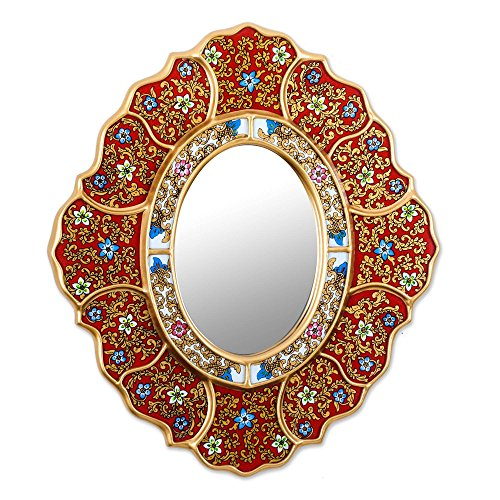 (NOVICA Red Reverse Painted Glass Wood Wall Mounted Mirror with Blue and White Flowers 'Floral Crimson')