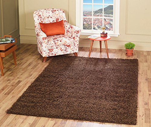 Chocolate Bedroom Collection (A2Z Rug Cozy Shaggy Collection 4x6-Feet Solid Area Rug - Chocolate Brown)