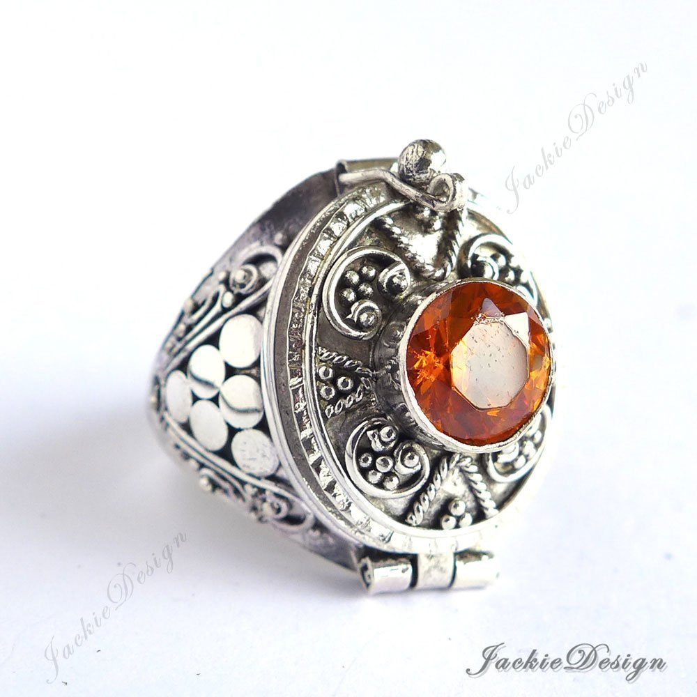 Orange Topaz Poison Ring Locket Bali Sterling Silver Secret Compartment Jewelry