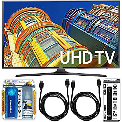 Samsung UN55KU6300 - 55-Inch Smart 4K UHD HDR LED TV Essential Accessory Bundle includes TV, Screen Cleaning Kit, 6 Outlet Power Strip with Dual USB Ports and 2 HDMI Cables