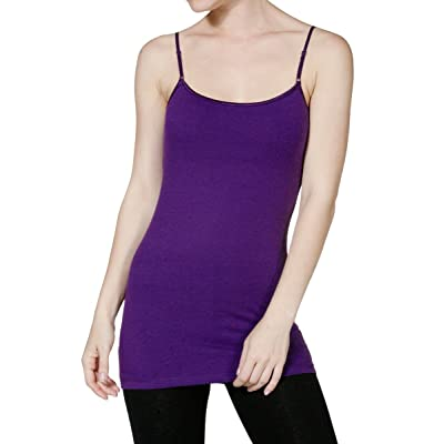 ACTIVE BASIC Women Built in Inner Bra Extra Long Spaghetti Cami Adjustable at Amazon Women's Clothing store