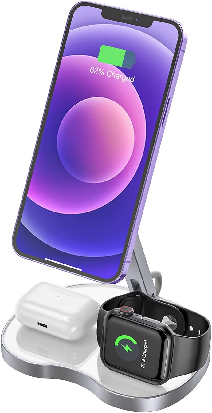 3 in 1 Wireless Charging Station for Apple Products Multiple Devices with Magsafe Charger Stand,15W Fast Cordless Charger,Compatible with iPhone 12/Airpods/iWatch,cargador para iPhone 12 pro max