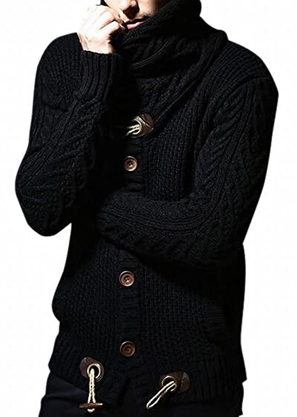 GAGA Mens Sweaters Casual Turtleneck Cable Knit Button Down ...