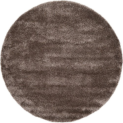 Unique Loom Luxe Solid Shag Collection Luxurious Yarn Pinecone Brown Home Décor Round Rug (8' x - Pinecone Rug 8' Round Area