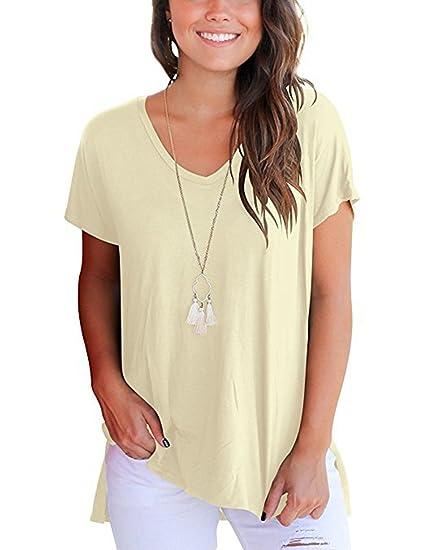 Aswinfon Tee Shirt Femme Ete Ample à Col V Manches Courtes Casual Grande Taille Fluide T Shirt Top Haut