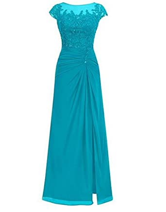 BOWITH Simple Long Evening Dresses Chiffon Prom Dress Gown Aqua US 2