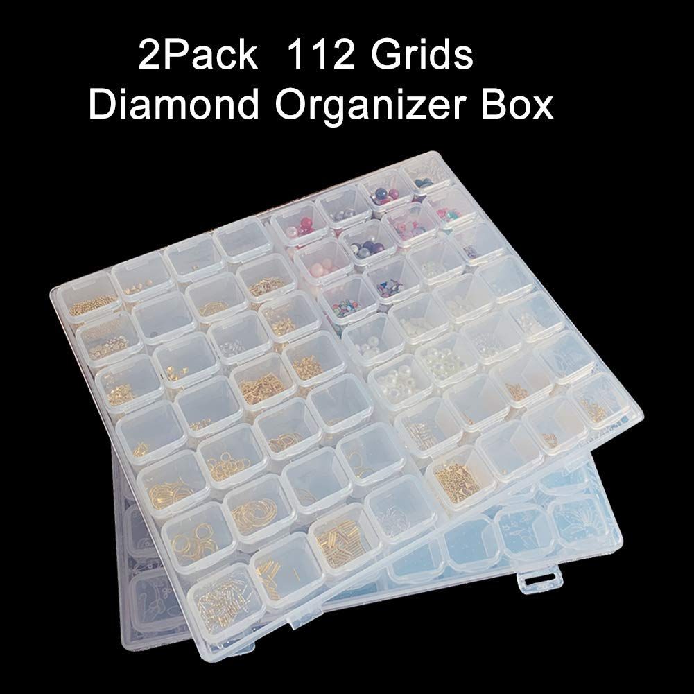 Terokota 56 Grids Diamond Painting Storage Containers 5D Diamond Embroidery Box Diamond Painting Organizer Case with 112PCS Label Grids Diamond Painting Organizer Case with 112PCS Label Marker Sticker