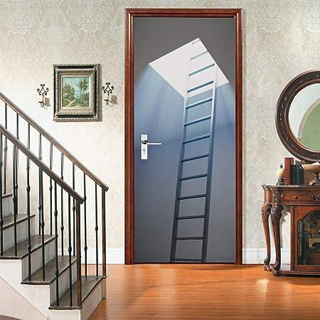 LMYWSX Etiqueta De La Puerta Vinilo 3D Murales Escalera De Tragaluz Sala Estar Dormitorio Baño Impermeable Autoadhesivo Art Decals Decoración Hogar 90 * 200Cm: Amazon.es: Hogar