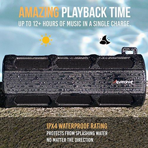 Waterproof Bluetooth Speaker, Alpatronix AX410 Portable Rugged Indoor/Outdoor 12 Watt Stereo Shockproof Wireless Speaker with Mic, Subwoofer & Carabiner for Cyclists, Smartphones & Computers - Black by Alpatronix (Image #5)