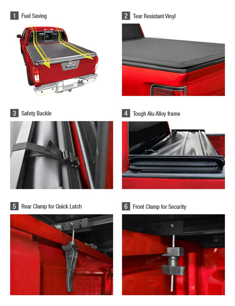 Fleetside 5 Bed MaxMate Roll Up Truck Bed Tonneau Cover Works with 2015-2018 Chevy Colorado//GMC Canyon