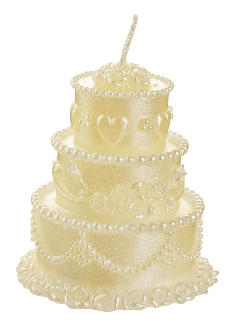 HobbyFun 4 Wedding Candles Wedding Cake with Hearts Approx. 6 x 6 cm ...