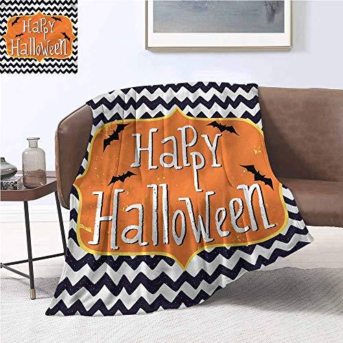 DILITECK Cozy Flannel Blanket Halloween Doodle Style Chevron