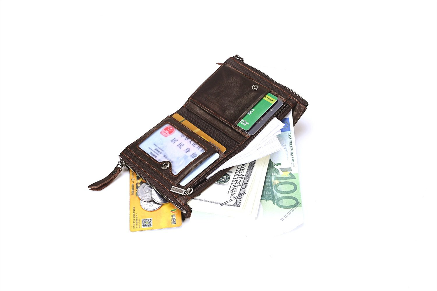 Color : Brown, Size : S Shengjuanfeng Mens Wallet Leather Short Clutch The First Layer of Leather Double Zipper Wallet Multifunctional Purse