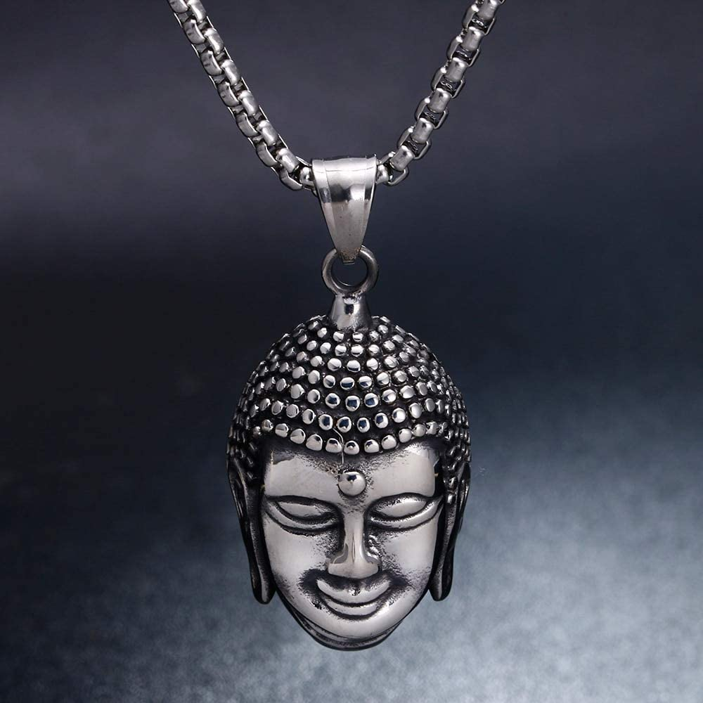 Hiphop//Rock 316L Stainless Steel Buddha Pendant Necklace Mens Holiday Gift Box chain Necklace Jewelry
