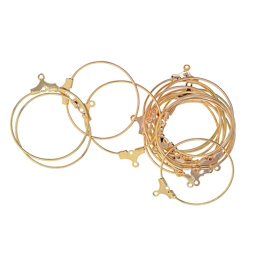 Baoblaze 20 Piè ces Boucles d'oreilles en Laiton Acier Grand Hoop Earrings Anneaux d'oreille Attaches Perles Piè rres Pendentif Breloque