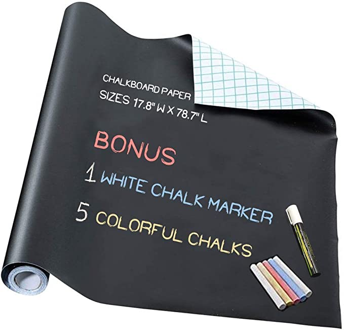 "Chalkboard Paper - Blackboard Vinyl Paper Removable Bulletin Wall Sticker, Giveaway of Free: 1 White Chalk Marker Pen + 5 Colorful Chalks - 17.7"" W x 78.7"" L"