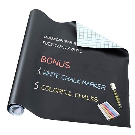 Amazon.com: Papel de vinilo de pizarra, bono: 1 marcador de ...