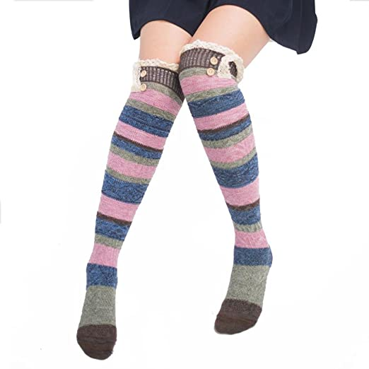 afb9cd2faa3 Women Lace Long Boot Socks Over Knee Thigh High Stockings with Strip (Coffe)