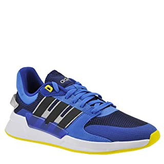 adidas Men's Run90s Dark Blue/Black/Shock Yellow 10 D US