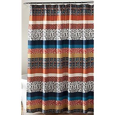 Lush Decor Boho Stripe Shower Curtain, 72 x 72 , Turquoise/Orange