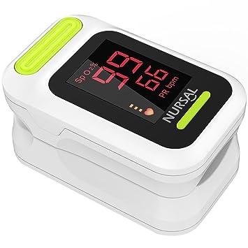 NURSAL Pulsioximetro de Pulso de Dedo Monitor de Saturación de Oxígeno en Cuerda de Sujeción Incluidos Funda y Cordón, Blanco