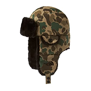 The North Face Men s Heli Hoser Hat Trapper Hat - Tigers Eye Tan Duckmo  Print 49fc7c70eaf
