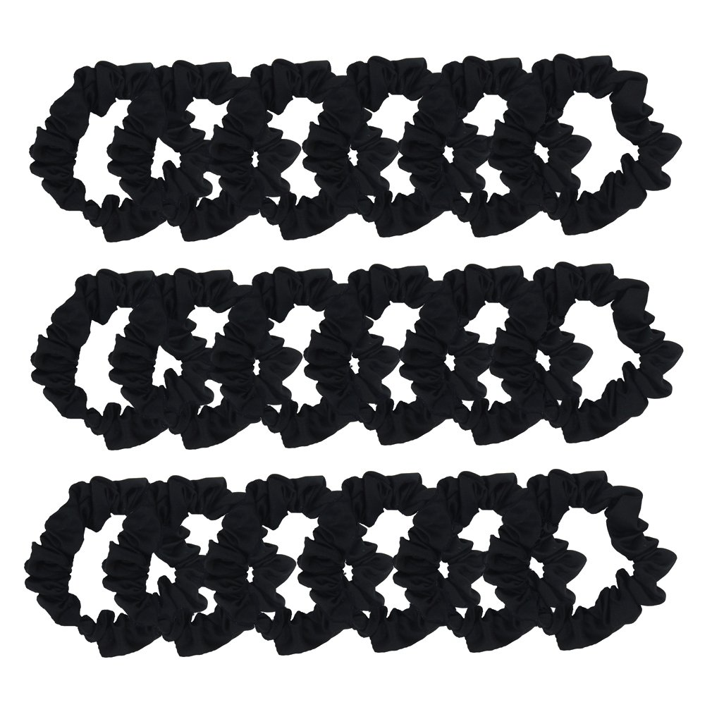 Set of 24 Satin Hair Scrunchies Soft Hair Elastics Vintage Hair Ties for Women Girls (Black) furling H2186BK*24