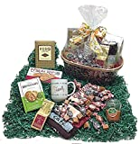 Coffee Lovers Autumn Gift Basket - Mug, Coffees, Candle, Towel, Cookies, Caramel Biscuits & Candy (D)