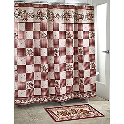 OTSK 1pc Ivory Red Cream Brown Motif Grid Pattern Shower Curtain Rustic Country Themed