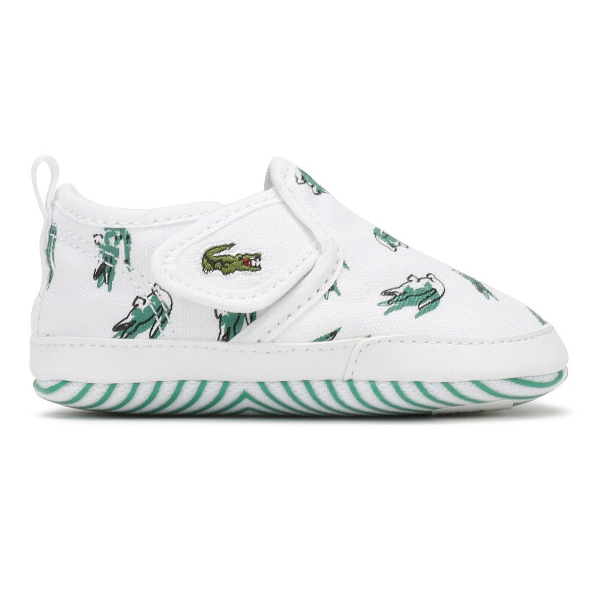 Lacoste Gazon Crib 118 1 White//Green Textile Baby Soft Soles