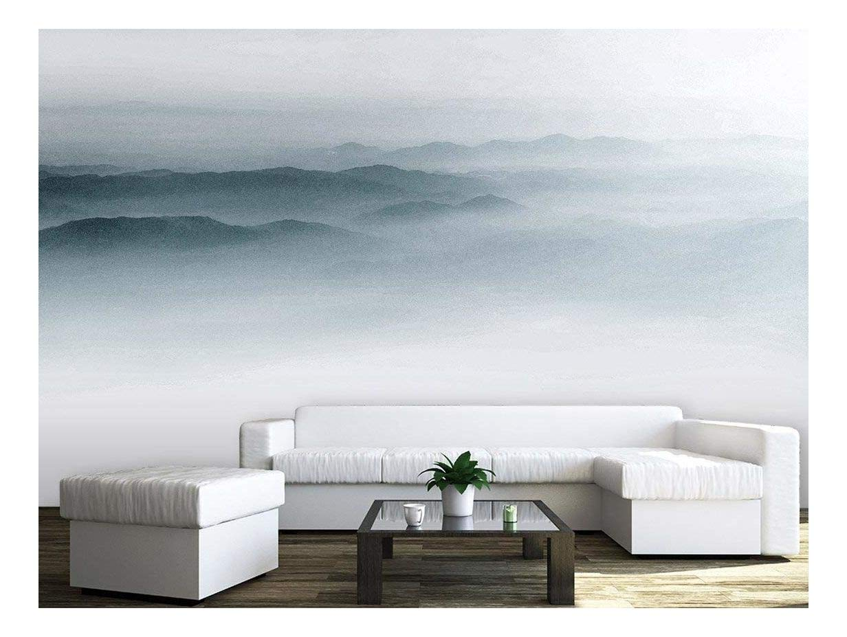 large wall mural landscape of mountains range in the mist vinyl wallpaper removable wall decor. Black Bedroom Furniture Sets. Home Design Ideas