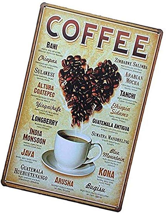 Joloy Vintage metálicos de hojalata Muestra del café Café Bar Pub ...