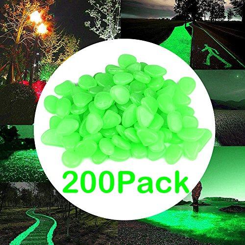 Glow in the Dark Garden Pebbles, AOFU Glow Stones Rocks For Walkways/Garden/Path/Fish Tank/Aquarium Decor [200pcs green] (Green)