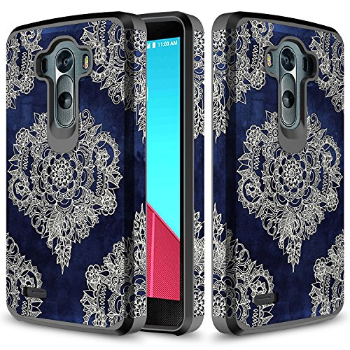 LG G3 Case, TownShop Moroccan Floral Design Hard Impact Dual Layer Shockproof Bumper Case For LG G3 / D850/ D855