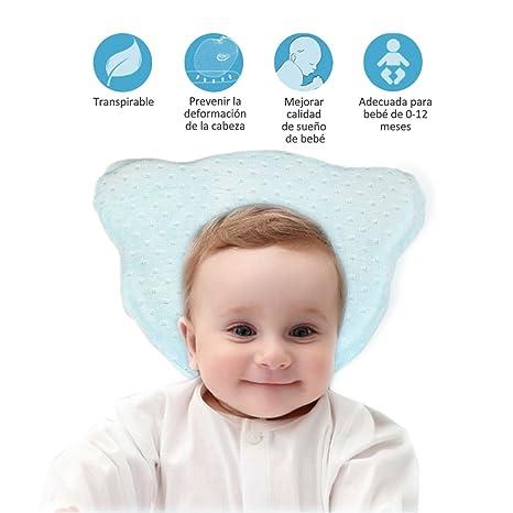 Almohada Bebe Plagiocefalia-Almohadas para Bebes Recién Nacidos Almohadas Ortopedicas para Prevenir la Plagiocefalia y Cabeza Plana Espuma con Memoria ...