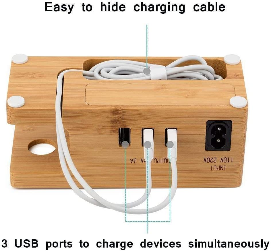 Phone Stand with 3 USB Port Bamboo Wood Charging Dock Station for 38mm//42mm//44mm Apple Watch iPhoneXS//XS max//XR//X//8//7 and Other Smartphone DAETNG USB Charging Stand