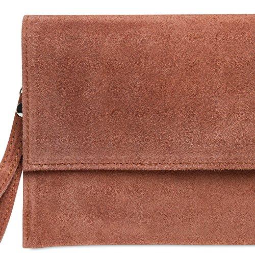 Leather Suede Pink CASPAR Clutch Antique TL702 Women wxtw4qSF