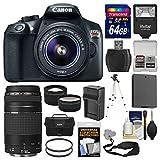 Canon EOS Rebel T6 Wi-Fi Digital SLR Camera & EF-S 18-55mm IS II + 75-300mm III Lens + 64GB Card + Case + Flash + Battery & Charger + Tripod Kit