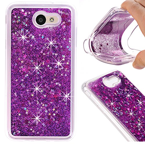AIKIN Samsung Galaxy J7 (2017)/J7 V/J7 Perx/J7 Prime/J7 Sky Pro Case Bling Flowing Liquid and Sparkle Hard Quicksand Waterfall soft PC Cover Case for J7 (2017) Case (Purple) (Waterfall Samsung)
