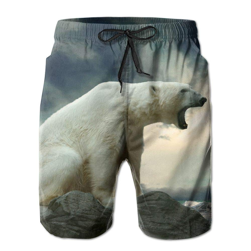 Roaring Polar Bear Mens Quick Dry Beach Shorts Casual Shorts Breathable Swim Trunks Board Shorts Pants