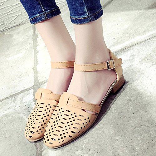 RUGAI-UE Hollow sandalias Verano Mujer gruesa hebilla zapatos de tacón bajo fresca pequeña Pink