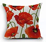 wonbye 18 x 18 Inches Cotton Linen Square Decorative Throw Pillow Case Cushion Cover Red Poppy Flowers Gift Anniversary Day Present,with Zipper