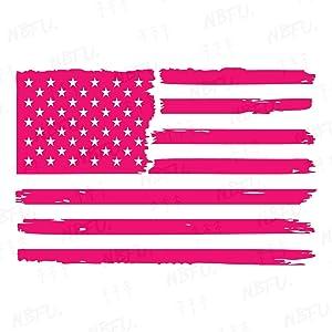 NBFU Decals Distressed Us American Flag 2 (Pink) (Set of 2) Premium Waterproof Vinyl Decal Stickers for Laptop Phone Accessory Helmet Car Window Bumper Mug Tuber Cup Door Wall Decoration