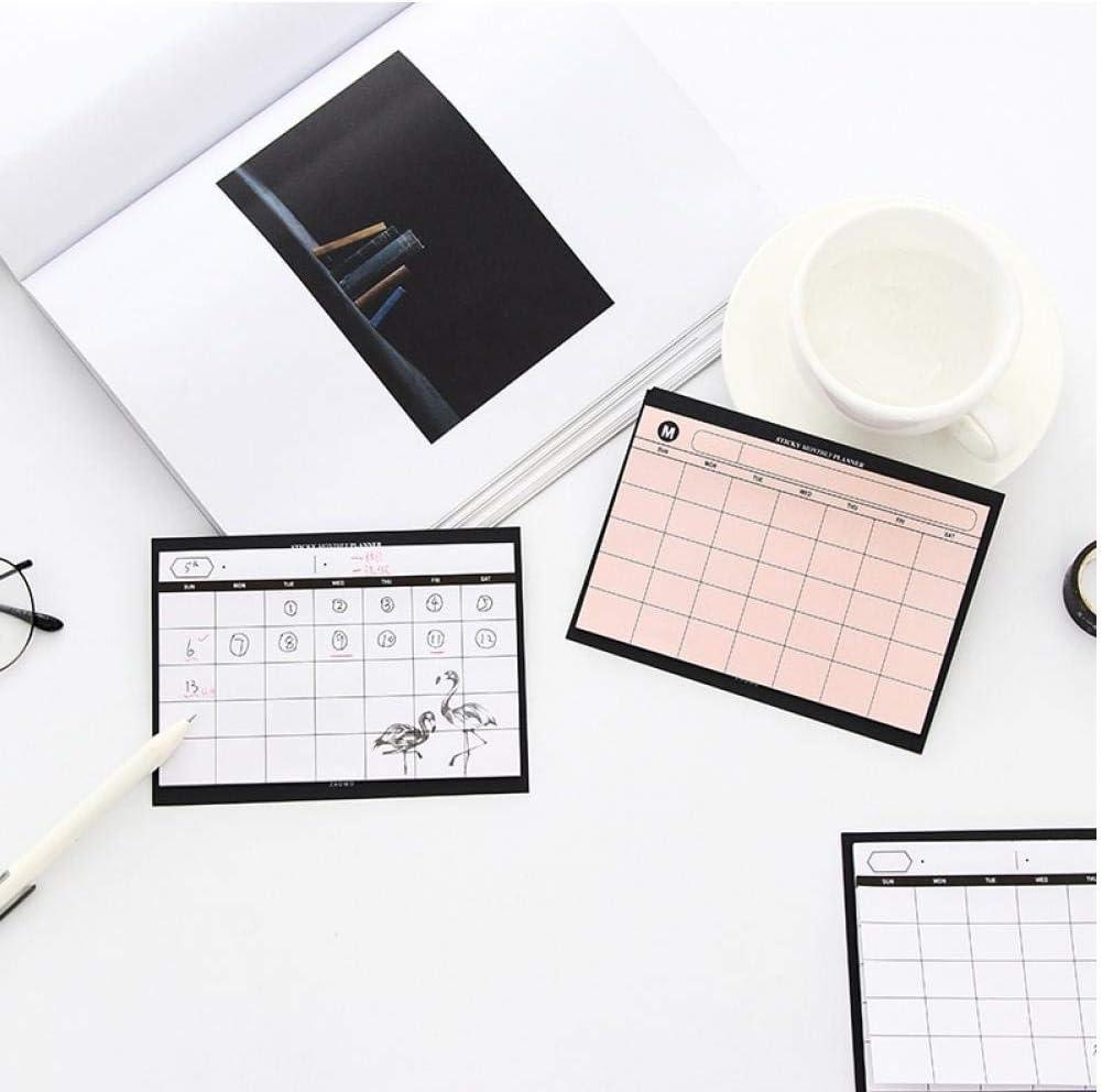 1x Rosa creativi Forniture Semplice Calendario del Desktop pianificatore Piano mensile Mini Kawaii Notebook da Ufficio di Lavoro di sintesi efficienza organizzatore