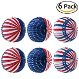 OULII Fourth of July Party Lantern Decoration Hanging US Flag Patriotic Design 10