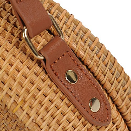 Strap Rattan With Bag Circle Shoulder Beach Body Round Leather Style Tissue Woman Bag Crossed w7C4tq