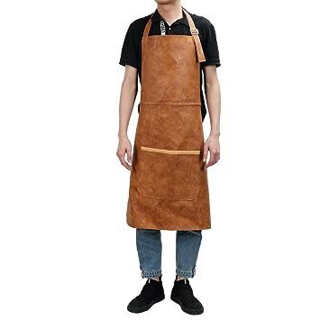 Delantal de taller de cuero con correa de cintura ajustable y función impermeable para cocina,