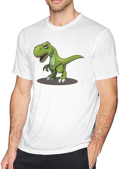 Camiseta de Manga Corta con Cuello Redondo de Hombre Dinosaurio Verde de Dibujos Animados, Camisa Casual para Hombres,S: Amazon.es: Ropa y accesorios