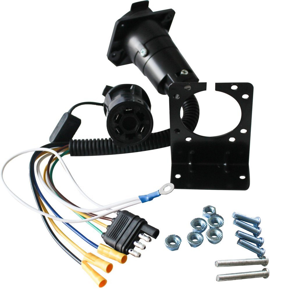 4 Wire Flat To 7 Way Vehicle Rv Trailer Light Plug Harness How Lights Adapter Bracket